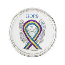 Bladder Cancer Awareness Ribbon Angel Lapel Pin