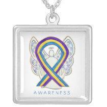 Bladder Cancer Awareness Ribbon Angel Necklace