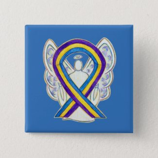 Bladder Cancer Awareness Ribbon Angel Pin Buttons