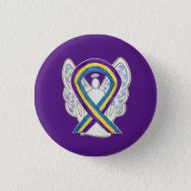 Bladder Cancer Awareness Ribbon Angel Pin Buttons