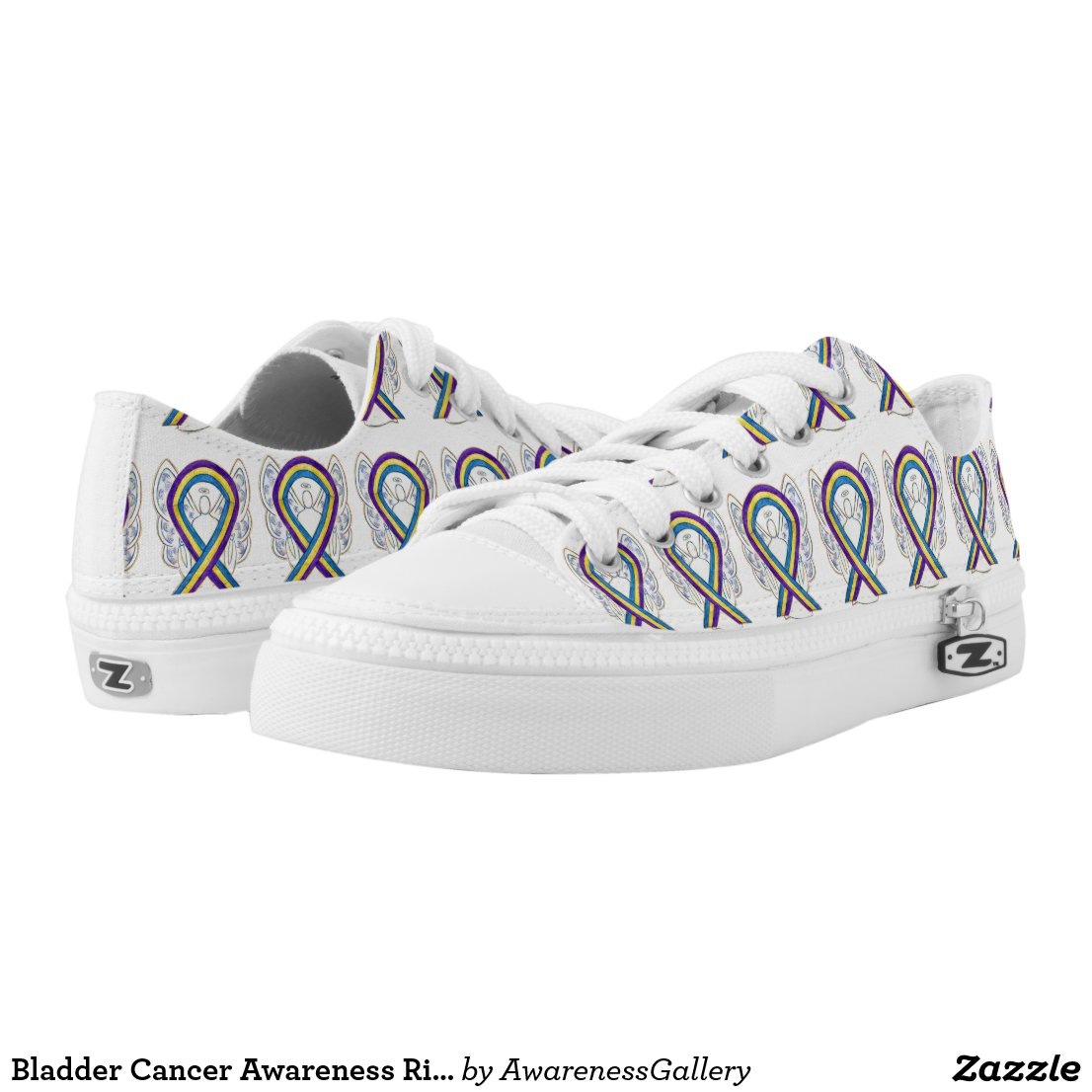 Bladder Cancer Awareness Ribbon Angel Sneakers