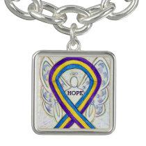 Bladder Cancer Awareness Ribbon Art Charm Bracelet