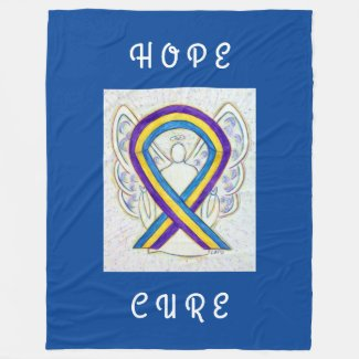 Bladder Cancer Awareness Ribbon Art Chemo Blanket