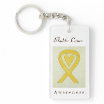 Bladder Cancer Awareness Ribbon Heart Key Chain
