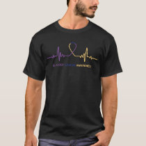 Bladder Cancer Awareness Ribbon Heartbeat T-Shirt