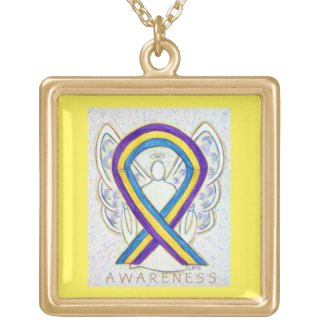 Bladder Cancer Awareness Ribbon Jewelry Necklace