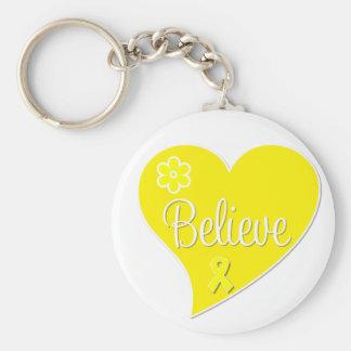 Bladder Cancer Believe Heart Keychain