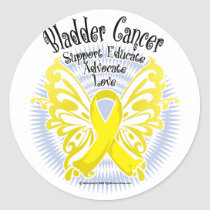 Bladder Cancer Butterfly 3 Classic Round Sticker