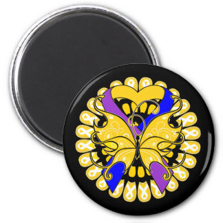 Bladder Cancer Butterfly Heart Ribbon 2 Inch Round Magnet