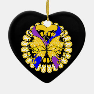 Bladder Cancer Butterfly Heart Ribbon Ceramic Ornament