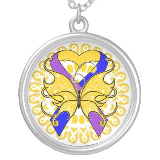 Bladder Cancer Butterfly Heart Ribbon Pendants