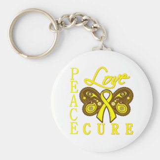 Bladder Cancer Butterfly Peace Love Cure Basic Round Button Keychain