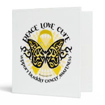 Bladder Cancer Butterfly Tribal 3 Ring Binder