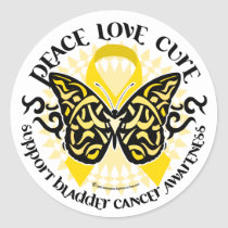 Bladder Cancer Butterfly Tribal Classic Round Sticker