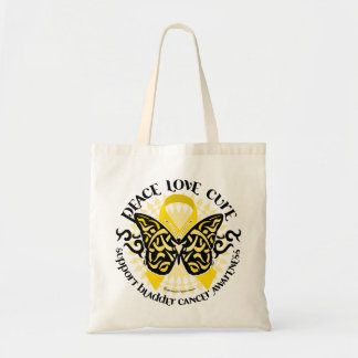 Bladder Cancer Butterfly Tribal Tote Bag