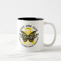 Bladder Cancer Butterfly Tribal Two-Tone Coffee Mug