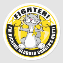 Bladder Cancer Cat Fighter Classic Round Sticker