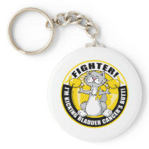 Bladder Cancer Cat Fighter Keychain