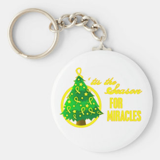 Bladder Cancer Christmas Miracles Basic Round Button Keychain