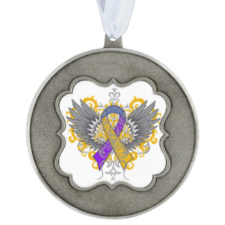 Bladder Cancer Cool Awareness Wings Scalloped Ornament