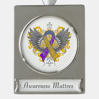 Bladder Cancer Cool Awareness Wings Silver Plated Banner Ornament
