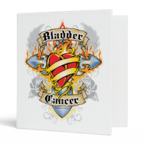 Bladder Cancer Cross & Heart 3 Ring Binder