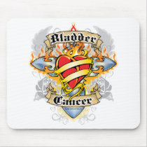 Bladder Cancer Cross & Heart Mouse Pad