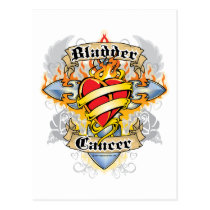 Bladder Cancer Cross & Heart Postcard
