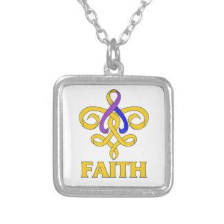 Bladder Cancer Faith Fleur de Lis Ribbon Pendants