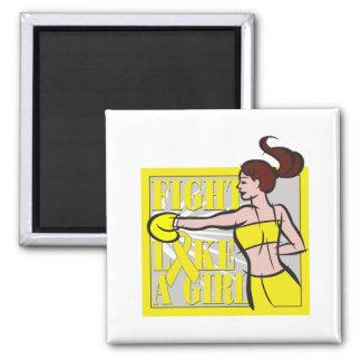 Bladder Cancer Fight Like A Girl Boxer Refrigerator Magnets