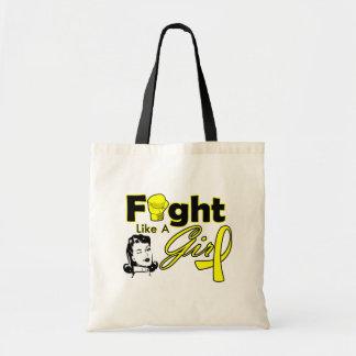Bladder Cancer Fight Like A Girl - Retro Girl Budget Tote Bag