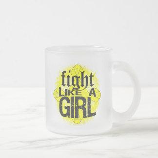 Bladder Cancer Fight Like A Girl Rock Ed. 10 Oz Frosted Glass Coffee Mug