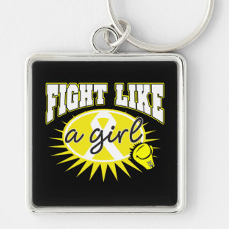 Bladder Cancer Fight Like A Girl Sporty Callout Key Chain