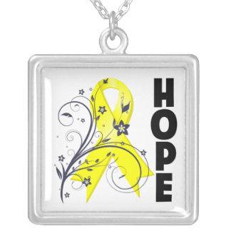 Bladder Cancer Floral Hope Ribbon Necklaces