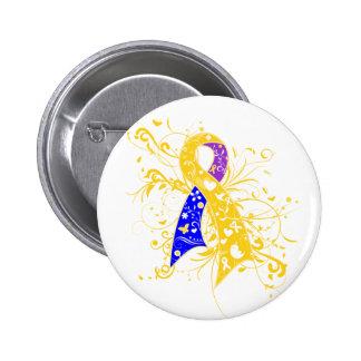 Bladder Cancer Floral Swirls Ribbon Buttons