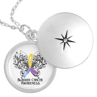 Bladder Cancer Flourish Butterfly Ribbon Round Locket Necklace