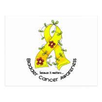 Bladder Cancer FLOWER RIBBON 1 Postcard