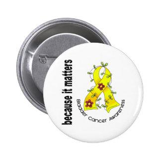 Bladder Cancer Flower Ribbon 3 Button