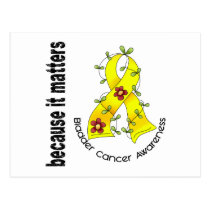 Bladder Cancer Flower Ribbon 3 Postcard