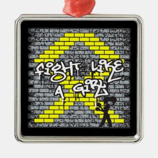 Bladder Cancer Graffiti Wall Fight Like A Girl Ornament
