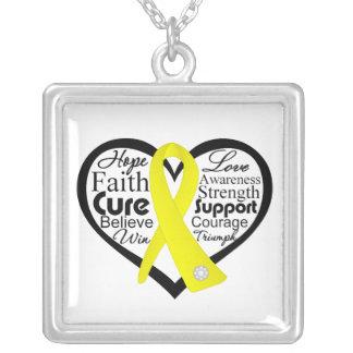 Bladder Cancer Heart Ribbon Collage Custom Necklace