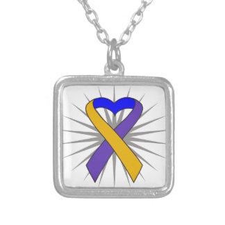 Bladder Cancer Heart Ribbon Custom Necklace