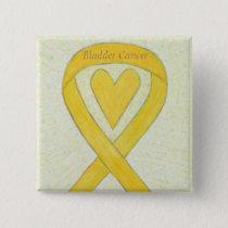 Bladder Cancer Heart Yellow Awareness Ribbon Pins