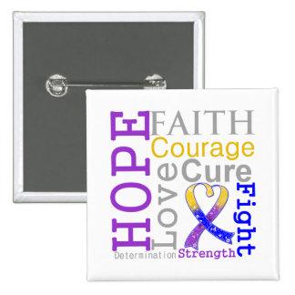 Bladder Cancer Hope Faith Motto Pinback Button