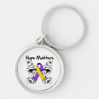 Bladder Cancer Hope Matters Silver-Colored Round Keychain