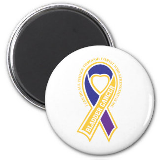 bladder cancer I can do all things through 2 Inch Round Magnet