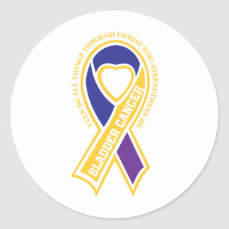 bladder cancer I can do all things through Classic Round Sticker