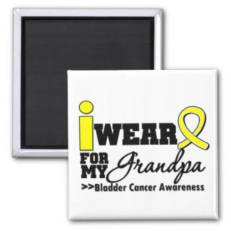 Bladder Cancer I Wear Yellow Ribbon For My Grandpa 2 Inch Square Magnet
