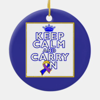 Bladder Cancer Keep Calm and Carry ON Christmas Ornament
