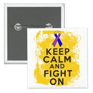 Bladder Cancer Keep Calm and Fight On.png Pinback Button